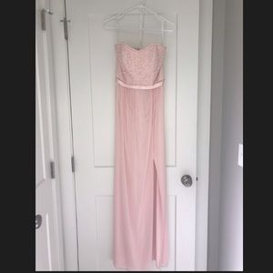Petal Lace and Mesh Long Strapless Dress